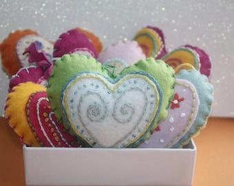 Heart Ornament. Handmade Felt Ornament. Embroidered Ornament. Christmas Ornament.