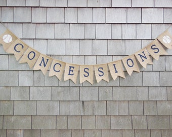 Concessions Banner, Concessions Birthday Sign, Baseball Happy Birthday Banner, Baseball Birthday Party Banner Garland, Birthday Decor