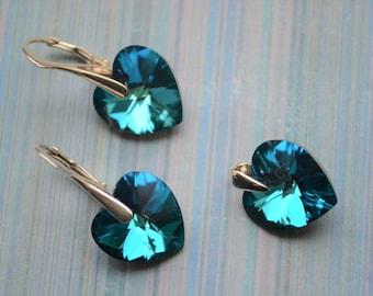 Xilion Heart Swarovski Crystal Bermuda Blue Sterling Silver 925 Earrings pendant set