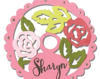 Memorial Sale: Sizzix Thinlits Die - Wine Stem Name Label, Rose Lace by Sharyn Sowell  660750