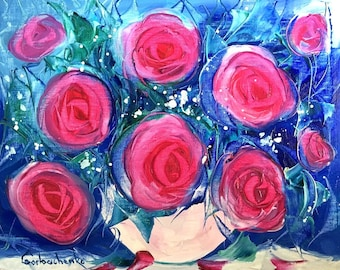 Pink Rose Palette Knife Original Oil Painting Still Life Painting Flowers Painting Wall Art Abstract Painting