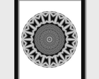 Geometric wall art, abstract poster printable, digital download black and white, unique wall decor, modern art, optical illusion, circular