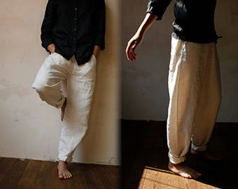 786---Linen Pants, Slightly Tapered Boyfriend , Pre-washed, Loose / Relaxed / Slouchy Fit , Women Off White Lithuanian Linen Trousers.