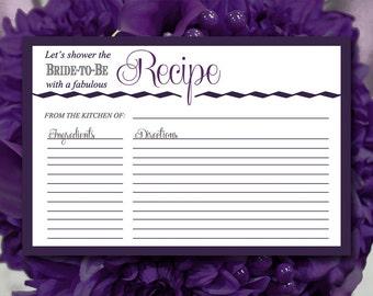 "Bridal Shower Recipe Card - Plum Charcoal Recipe Card Printable 4""x6"" Printable Wedding ""Zig Wave"" Printable Recipe Card Wedding Shower"