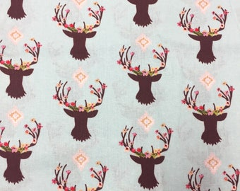 Deer Fabric, Floral Antler Fabric, Floral Antlers, Mint Deer Fabric, Magic Moon Deer Fabric