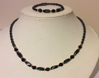 HIGH POWER Magnetic Hematite Necklace and bracelet set