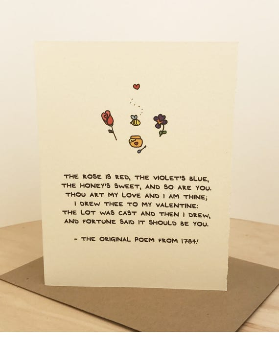 The Original Roses Are Red Poem! Cute Adorable Sentiment Paper Valentine Made in Toronto Canada Poetry Verse History Literary