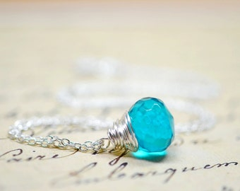 Deep Teal Necklace, Simple Minimalist Jewelry, Blue Green Wire Wrap Briolette, Ocean Blue Stone Sterling Silver Chain