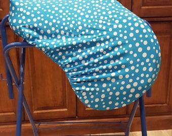 Blue polka dot english saddle cover