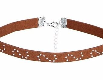 Crystal Studded Brown Velvet Choker Necklace