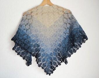 Summer shawl, scarf woman scarf / crochet cotton in shades of beige, ecru, blue sky denim, Navy Blue dark, mother's day