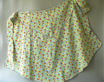 Vintage Cotton Print Apron, half,  floral, flower, mint green, orange