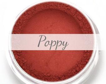"Eyeshadow Sample - ""Poppy"" - Matte Warm Red Mineral Makeup"