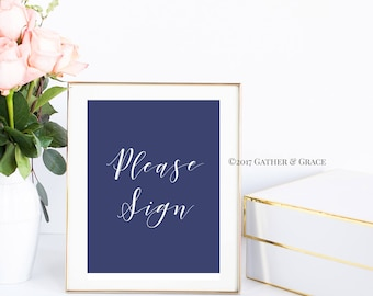 Printable, Guest Book Sign, Please Sign, Guest Book Printable, Guest Book, Wedding Decor, Wedding Sign, Party Decor, Gifts, Navy and White