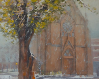 Loretto Chapel - Santa Fe - Plein Air - Landscape - Oil Painting - New Mexico - Winter - Snow - Church - Wintry - Old Town - Historic