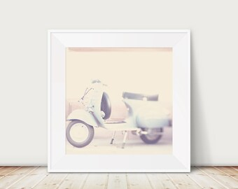 scooter photograph bike photograph travel photography europe photograph pastel blue wall art hipster style cream home decor