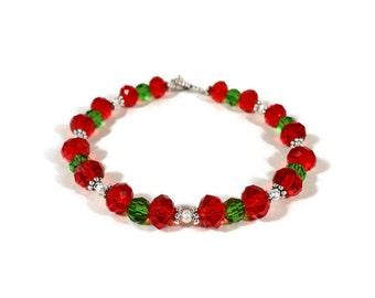 Red and Green Crystal Bracelet, Beaded Christmas Bracelet, Glass Bead Bracelet, Holiday Wear, Gift for Her, Handmade Women's Jewelry