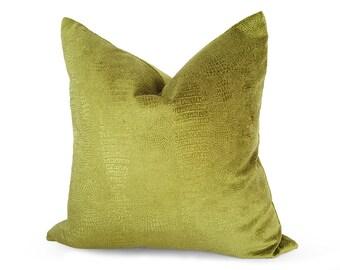 Chartreuse Pillow, Velvet Pillows, Green Velvet Pillow, Designer Pillow, Animal Print, Reptile, Embossed, Textured, Solid, Yellow Green, NEW
