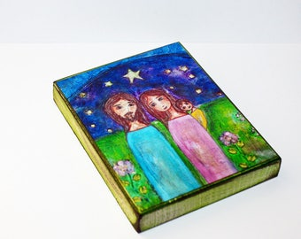 Our Starry Night - Our Family -  Giclee print mounted on Wood (4 x 5 inches) Folk Art  by FLOR LARIOS