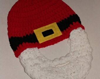 Crochet Santa style bearded hat, any beard color, Santa hat, newborn Santa hat, baby Santa hat, beard hat, Santa beard hat, baby beard hat