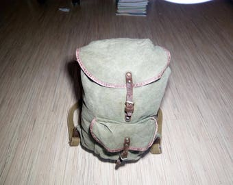 Small Backpack - School Backpack - Small Canvas Backpack - Vintage Everyday Backpack Military Style
