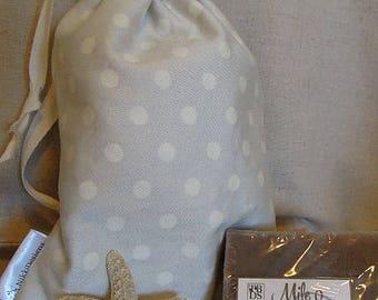 Cotton Fabric Gift Bags, Drawstring Bag, 6x8 Cotton, Grey, Polka Dots, Reusable Gift Bags
