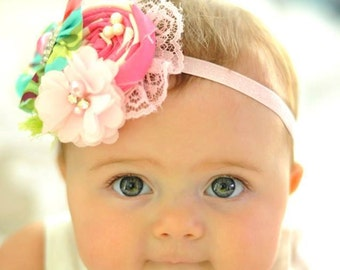 Pink Blue Green Baby Headband, Vintage Baby headband, Infant headband, toddler headband, Newborn Headband,Silver Rhinestone headband