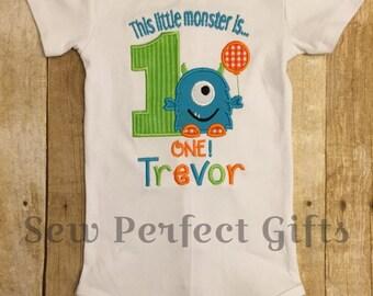Baby Boy, Monster Birthday, 1st Birthday, Monster is one Birthday Onesie, first birthday monster theme, Personalized Birthday Onesie