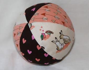 Small Cream Woodland Animals Fabric Ball Rattle