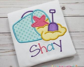 Sandpail Starfish Shirt, Girl Beach Shirt, Girl Birthday Shirt, Sandbucket, Summer Shirt