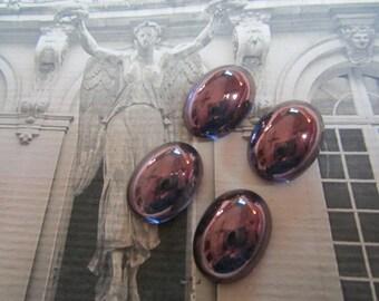 18x13mm Czech Purple Lustre Glass Cabochons 4Pcs.