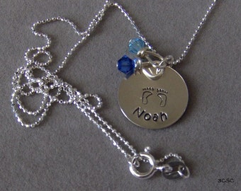 New Baby Boy Mothers Necklace in Sterling Silver wtih Swarovski crystals