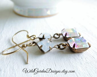 White Opal Crystal Wedding Earrings Vintage Inspired Glamour Small Dangle Earrings Fairy Tale Wedding Aurora Borealis Iridescent Crystal