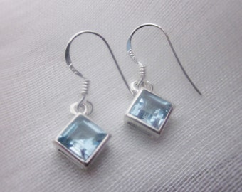 Gorgeous Blue Topaz Drop Silver Earrings