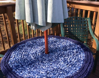 Outdoor Porcelain Blue Crocheted Rug or Patio Table Topper