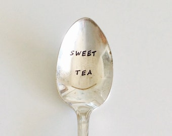 SWEET TEA  ~ Mother's Day Gift / Birthday Gift / Best Friend Gift / Sister Gift / Get Well Gift ~ hand stamped silver plated ice tea spoon