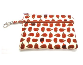 Larger Zippered Wallet Change Purse Gadget Case Small Hedgehogs 5553