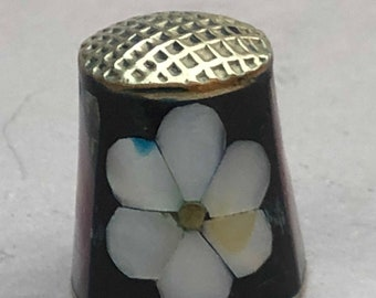 Vintage Thimble with Inlaid Abalone Shell Flower Design