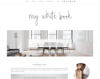 My white book Blogger Template - Responsive Blogger Template - Feminine Blogger Template - Minimalist Template-Blogger Template