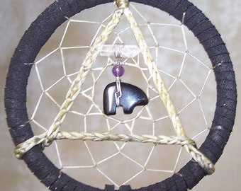 SERENITY BEAR - 3 Inch Dreamcatcher in Black and Purple by Feathered Dreams