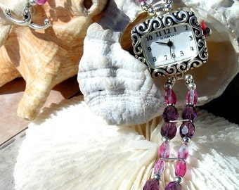 Silver Watch, Plum with Pink Glass Beads Jewelry W080