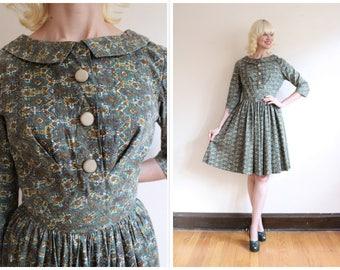 1950s Dress // Kaleidoscope Cotton Dress // vintage 50s dress