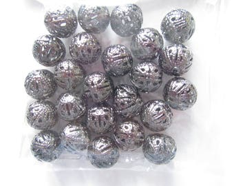 Bag of 24 grey perforated metal color - 1 cm beads