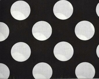 Bigger Dot Black with White Polka Dots Cotton Fabric by the Yard