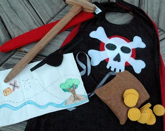 Pirate Adventure Giftset - Includes Cape, Eyepatch, Pirate Map, Felt Bag with Gold Coins