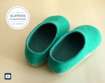 Felted slippers/felt slippers/wool slippers – Gift for her/gift for him/housewarming gift/personalized gift – Felting Video Tutorial/DIY