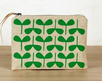 Emerald Seedlings flat zip pouch- screen printed and handmade