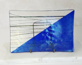 Kurt McVay Art Glass Plate, Cobalt Blue and Clear Rectangle Art Glass Plate, Dichroic Fused Glass Plate, Artist Signed Collectible Art Glass