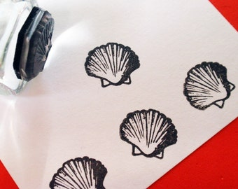 Scallop Shell Rubber Stamp - Handmade by BlossomStamps