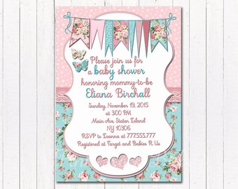 Floral Baby shower printable invitation baby girl romantic digital invite personalized birthday party DIY card with flowers pink mint
